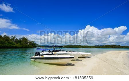 Seascape With Turquoise Water At Sunny Day
