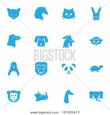 Set Of 16 Brute Icons Set.Collection Of Bunny, Owl, Rhinoceros And Other Elements.
