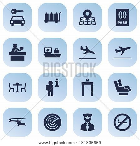 Set Of 16 Aircraft Icons Set.Collection Of Location, Restaurant, Forbidden And Other Elements.