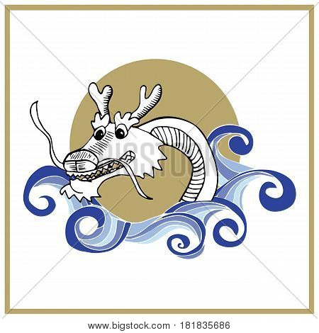 Sea Dragon doodle styled illustration is great as dragon boat racing poster or dragon boat festival promo. Naga Dragon. Imugi dragon.