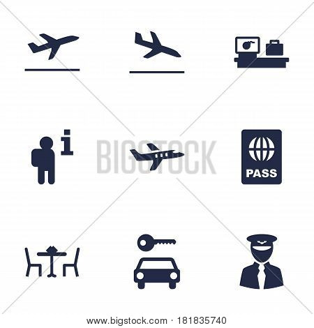 Set Of 9 Aircraft Icons Set.Collection Of Passport, Aircraft, Leaving And Other Elements.