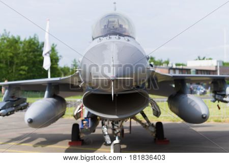 LEEUWARDEN NETHERLANDS - JUNE 10 2016: Nose of an F16 fighting falcon during the dutch air force open days