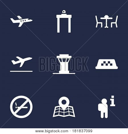 Set Of 9 Aircraft Icons Set.Collection Of Leaving, Data, Tower And Other Elements.