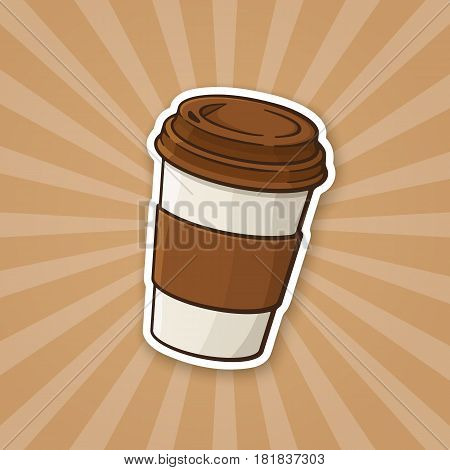 Vector illustration. Disposable paper cup with coffee or tea. Sticker in cartoon style with contour. Decoration for greeting cards, patches, prints for clothes, badges, posters, menus