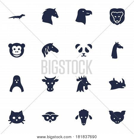 Set Of 16 Beast Icons Set.Collection Of Rhinoceros, Tomcat, Mutton And Other Elements.