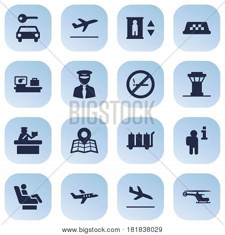 Set Of 16 Aircraft Icons Set.Collection Of Chopper, Lift, Aviator And Other Elements.