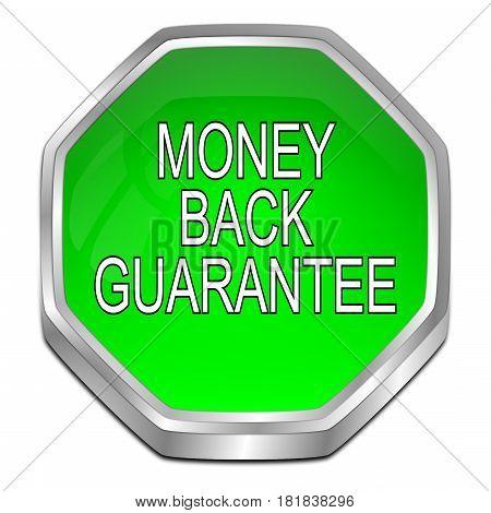 green Money back Guarantee button - 3D illustration