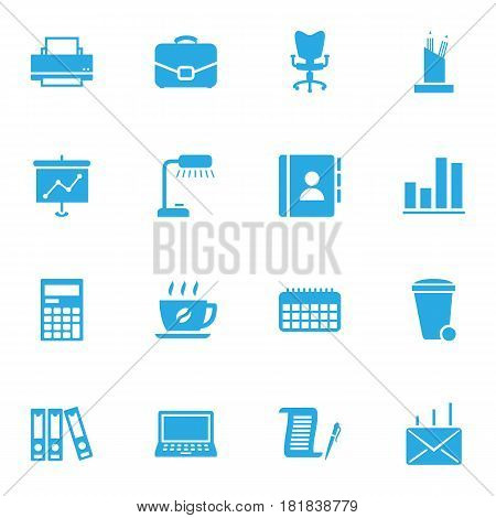 Set Of 16 Bureau Icons Set.Collection Of Office Chair, Table Lighter, Address Book And Other Elements.