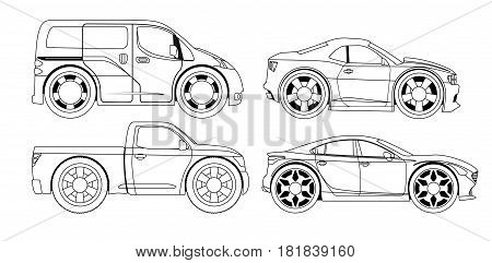 Coloring book: stylized cars set on a white background