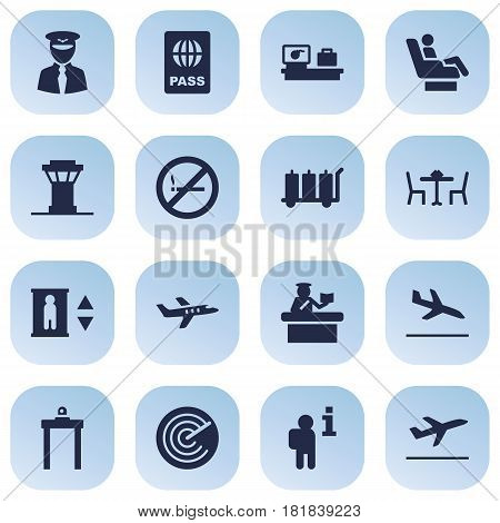 Set Of 16 Aircraft Icons Set.Collection Of Restaurant, Leaving, Tower And Other Elements.