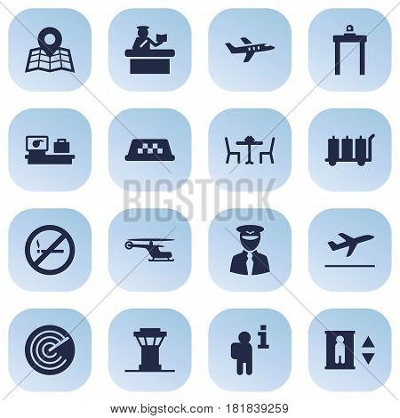 Set Of 16 Airplane Icons Set.Collection Of Aircraft, Tower, Forbidden And Other Elements.