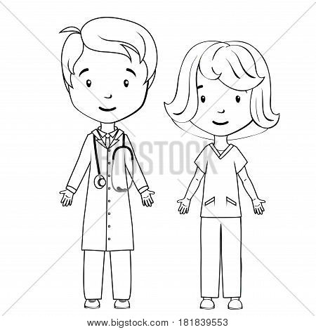Coloring book: Cartoon doctor and nurse on a white background