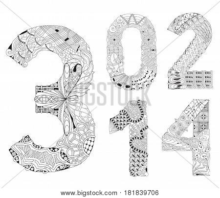 Hand-painted art design. Adult anti-stress coloring page. Black and white hand drawn illustration for coloring book. Number zero, one, two, three, four zentangle object.