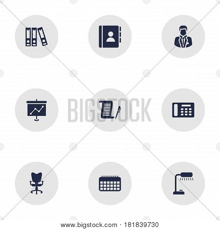 Set Of 9 Bureau Icons Set.Collection Of Manager, Telephone, File Folder And Other Elements.