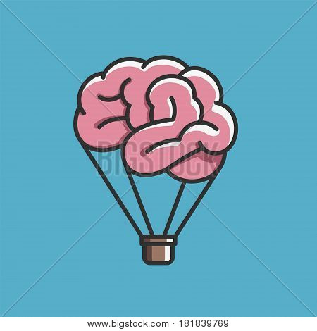 Brain like hot air balloon, free mind, imagination, creative concept vector illustration on blue background