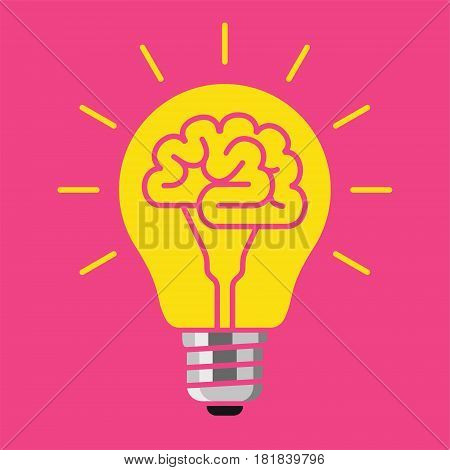 Light bulb with a brain inside, creating ideas, creative concept, vector illustration on pink background