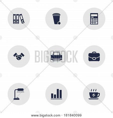 Set Of 9 Bureau Icons Set.Collection Of Trash Can, Diagram, Calculator And Other Elements.