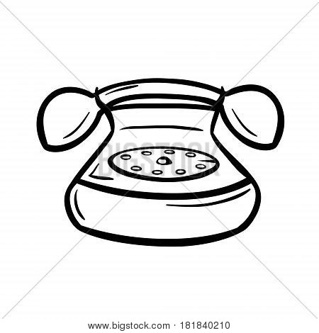 Old telephone with hanset and rotary dial. Retro devices in doodle style. Black hand drawn vector illustration isolated on white.