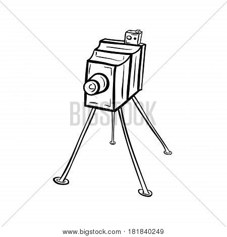Old photocamera, 19th century. Hand drawn vector illustration isolated on white.