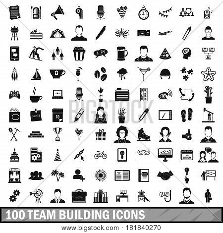100 team building icons set in simple style for any design vector illustration