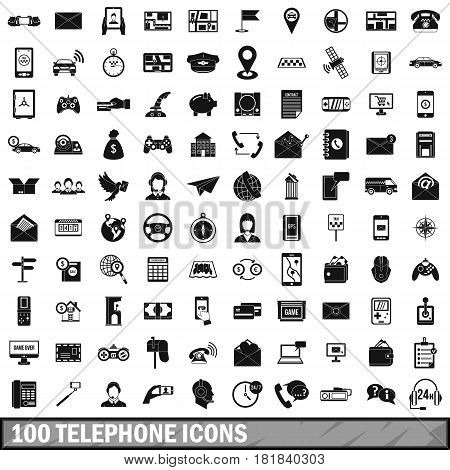 100 telephone icons set in simple style for any design vector illustration