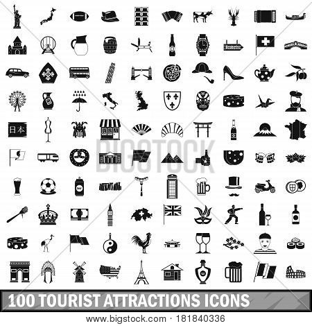 100 tourist attractions icons set in simple style for any design vector illustration