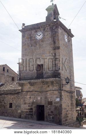 Tower of the Plaza de la Constitución in Piedralaves, Avila, Spain