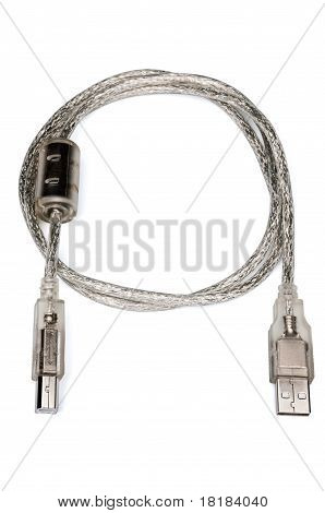 Silver Usb To Printer Cable With Filter