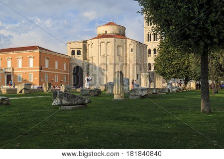 ZADAR, CROATIA - SEPTEMBER 14, 2016: These are archaeological finds of the ancient Roman forum and the church of St. Donatus built on its place in the 9th century.