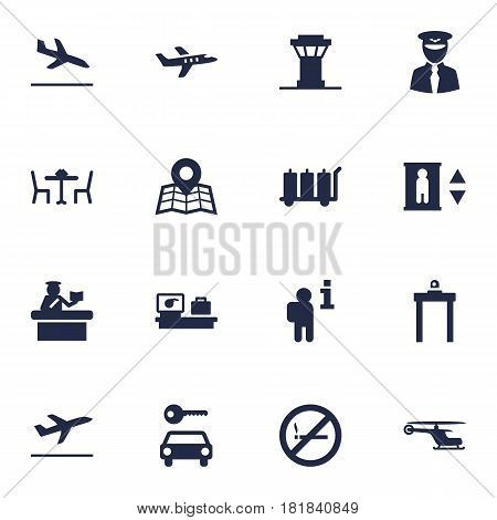 Set Of 16 Aircraft Icons Set.Collection Of Carriage, Aviator, Data And Other Elements.