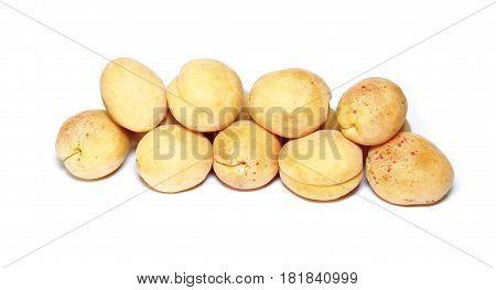 Fresh fruits of apricot isolated on white background