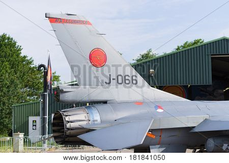LEEUWARDEN NETHERLANDS - JUNE 10 2016: Tail of an F-16 fighting falcon at the Dutch Air Force open days.