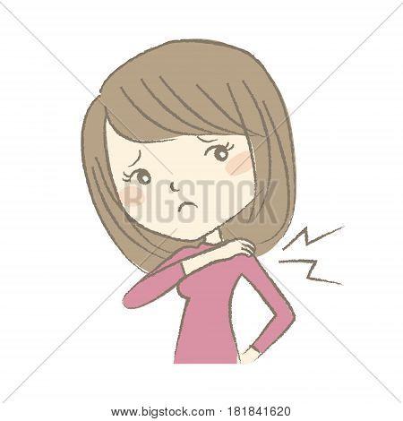 Young woman having stiff neck, medical, symptom