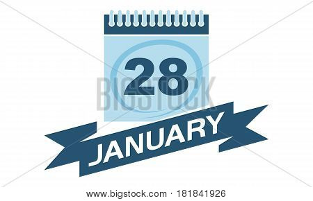 28 January Calendar with Ribbon Event Reminder