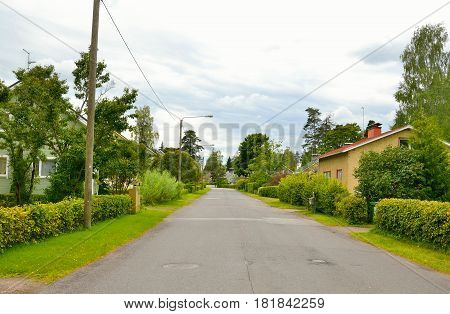 LAPPEENRANTA FINLAND - AUGUST 18 2016: Street in Lappeenranta at summer. City and municipality in Finland administrative economic and cultural center of the province of South Karelia.