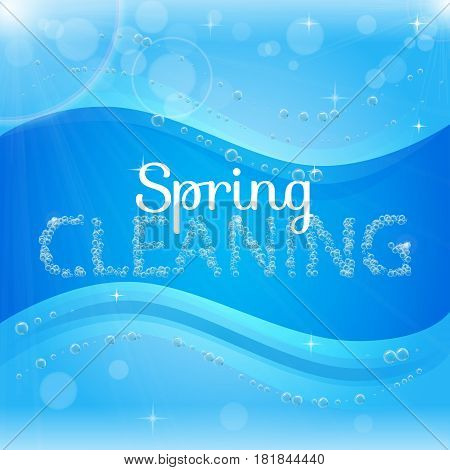 Spring cleaning banner with washing soap foam bubbles. Shiny blue background with sunny waves. Housekeeping and cleaning service design. Flyer with realistic shampoo bubbles with lights, blinks, blur.