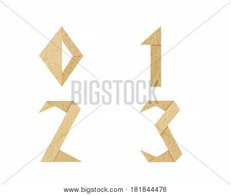 Vintage Font number graphic is paper craft font. recycle style is rough texture and isolated on white background. It's dicut object to attached with path files.