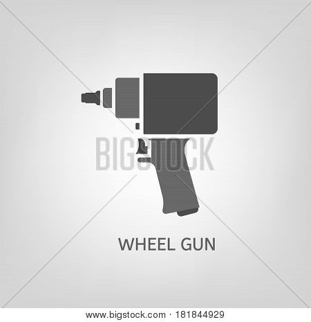 Car wheel screw gun beautiful vector illustration useful for icon and logotype design on a light background. Realistic graphic style. Transportation automotive concept. Flat digital pictogram