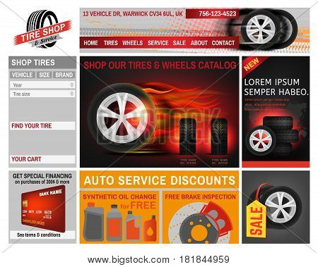 Tire shop website idea. Ready to use vector illustration with different elements - company logo, web banners, wheels catalog and product promotions. Graphic template in grey, red and orange colours.