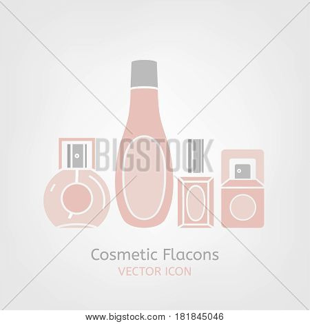 Cosmetic flacons image in light pink and grey colours. Beautiful vector illustration in flat modern style isolated on a white background.