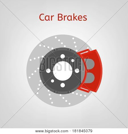 Car brake discs system spare part in a flat style. Auto repair sign. Automobile vector illustration in grey and red colours isolated on a light background.