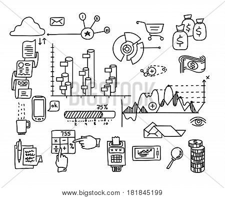 Bank business finance analytics earnings hand draw doodle elements.