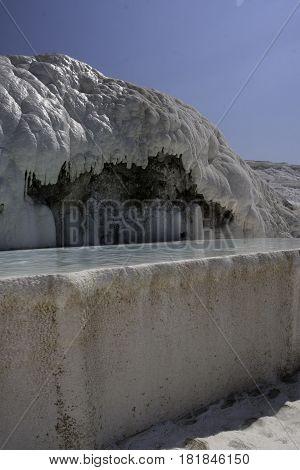 Natural swimmingpool in Pamukale Region, in Turkey