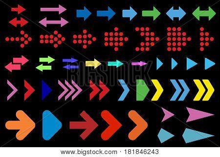A set of arrows on a black background. Vector illustration.