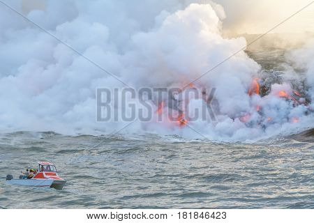 Amazing view of lava pouring into the sea in Volcanoes National Park, Big Island, Hawaii