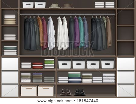 Vector brown cloakroom closet with shelves full of boxes and clothes shirts, boots, shoes and hats front view