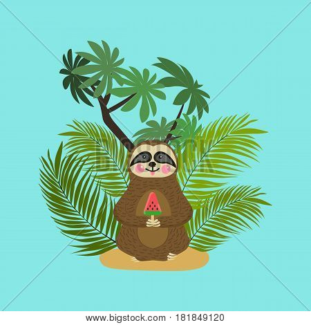 Cute baby sloth eating watermelon ice cream. Cartoon character. Wild jungle animal collection. Baby education. Isolated. Flat design Vector illustration