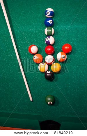 Arrow From The Billiard Balls Showing On One Ball. Motivating Concept
