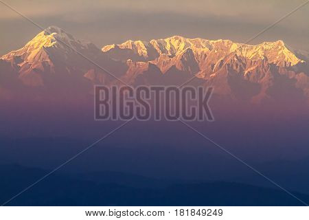 First light on Trishul Peak in the Himalayas. Elevation 7,120Meter