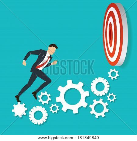 businessman running on gears to target archery to Successful vector. Business concept illustration.